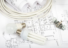 Architecture plan and rolls of blueprints Stock Photo
