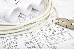 Architecture plan and rolls of blueprints Stock Image
