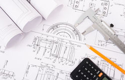 Architecture plan and rolls of blueprints Royalty Free Stock Photography