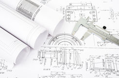 Architecture plan and rolls of blueprints Royalty Free Stock Photo