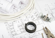 Architecture plan and rolls of blueprints Stock Images