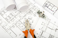 Architecture plan and rolls of blueprints Royalty Free Stock Image