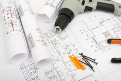 Architecture plan and rolls of blueprints Stock Photography