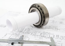 Architecture plan and rolls of blueprints Royalty Free Stock Photos