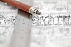 Architecture plan, ruler & pencil Stock Photo