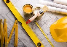 Architecture plan & Tools Royalty Free Stock Photography