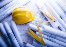Architecture plan & Tools Stock Photo