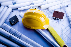 Architecture plan and Tools royalty free stock photography