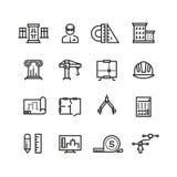 Architecture, planification de construction, ligne icônes de construction de maison de vecteur réglées Images libres de droits