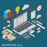 Architecture planning, interior project, architect workplace vector illustration. Architecture planning, interior project, architect workplace, computer design Stock Image