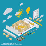 Architecture planning, interior project vector illustration Royalty Free Stock Photo