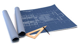 Architecture planning of interiors design on paper. Construction plans in rolls. 3d render Stock Images