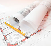 Architecture plans. Close-up shot of architecture plans and lead-holder Royalty Free Stock Photos