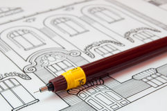 Architecture plans. Close-up a technical pen and architectural detail Royalty Free Stock Photo
