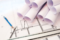 Architecture plans. Close-up shot of architecture plans and  lead-holder Royalty Free Stock Images