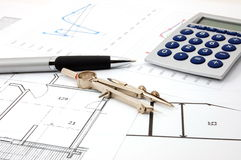 Architecture plans. Plans for the construction of new residential  real estate Royalty Free Stock Photography