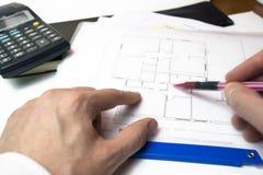 Architecture plans, blue prints stock image