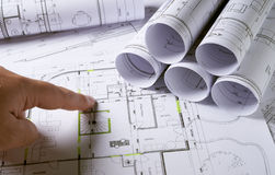 Architecture plans with hands royalty free stock photography