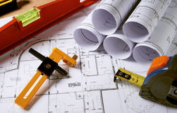 Architecture plans with pencil Stock Photos