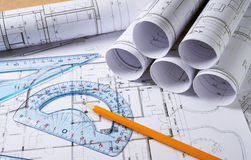 Architecture plans with pencil Stock Photo