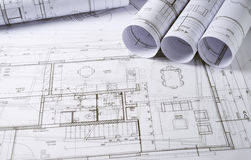 Architecture plans. And sketch of house project Royalty Free Stock Photography