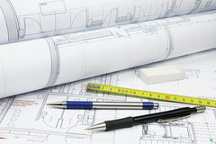 Architecture plans and tools Stock Photo