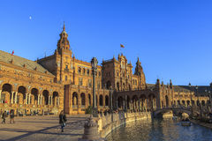 Architecture of Plaza de España, Seville, Spain Royalty Free Stock Image
