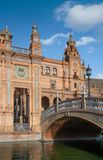 Architecture of Plaza de Espana. Architectural details of the buildings and brdges of Plaza de Espana in Seville Stock Image