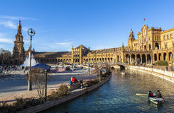 Architecture of Plaza de Espana, Sevilla, Spain Royalty Free Stock Photography