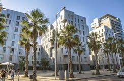 Architecture Poblenou district in Barcelona. BARCELONA, SPAIN - JULY 1, 2016: New buildings at Poblenou district, Barcelona, Spain stock image