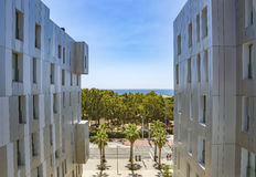 Architecture Poblenou district in Barcelona. BARCELONA, SPAIN - JULY 9, 2016: New buildings at Poblenou district, Barcelona, Spain royalty free stock images