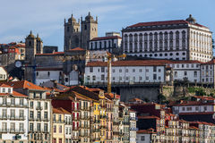 Architecture of Porto. Bishop`s Palace next and Se Cathedral in Porto, Portugal Stock Photos