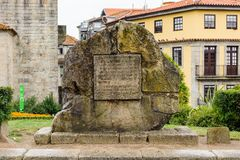 Architecture of Porto, Portugal. PORTO, PORTUGAL - JUN 21, 2014: Memorial stone Cathedral of the Assumption of Our Lady (Porto Cathedral), one of the most stock photography