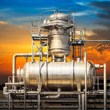 Powerhouse pipe system and sky Royalty Free Stock Photography