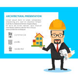 Architecture presentation design vector concept with building model Stock Photos