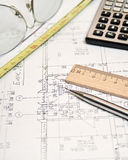 Architecture project. Architecture planning of interiors designe on paper Royalty Free Stock Photo