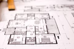 Architecture project. Architecture planning of interiors designe on paper with metre, DOF is shalow stock image