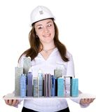 Architecture project - business woman Royalty Free Stock Images