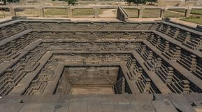 Architecture of public bath and step well - Pushkarani stock photos