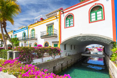 Architecture of Puerto de Mogan on Gran Caria island Stock Photos
