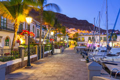 Architecture of Puerto de Mogan at night. A small fishing port on Gran Canaria, Spain Stock Photo