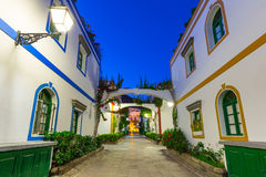 Architecture of Puerto de Mogan at night. A small fishing port on Gran Canaria, Spain Stock Image