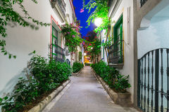 Architecture of Puerto de Mogan at night Royalty Free Stock Photography