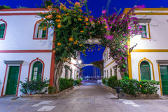 Architecture of Puerto de Mogan at night. A small fishing port on Gran Canaria, Spain Stock Images