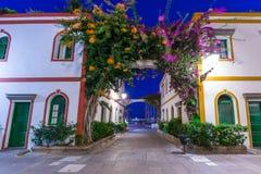 Architecture of Puerto de Mogan at night Stock Images