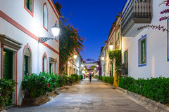 Architecture of Puerto de Mogan at night Stock Photography