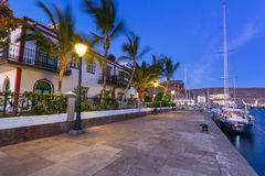 Architecture of Puerto de Mogan at night Royalty Free Stock Photos
