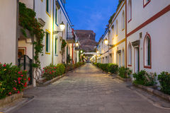 Architecture of Puerto de Mogan at night, a small fishing port o Stock Photography