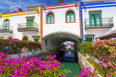 Architecture of Puerto de Mogan, a small fishing port on Gran Canaria Stock Images