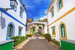 Architecture of Puerto de Mogan, a small fishing port on Gran Canaria. Spain stock photo